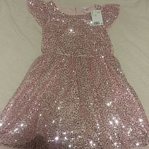 H&M Girls sequin pink party dress size 5 /6